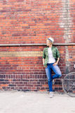 Hipster woman with vintage road bike in city Royalty Free Stock Image