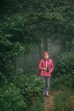 Hipster woman walking in forest stock photo