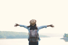 Hipster women travel in nature. Hipster woman travel in nature concept backpacker on holiday stock photography