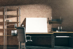 Hipster workplace with blank whiteboard. Close up of hipster workplace with empty whiteboard on red brick wall background. Mock up, 3D Rendering Royalty Free Stock Photos