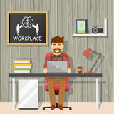 Hipster At Workplace Design Royalty Free Stock Photo