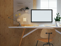 Hipster workspace with computer on table at home or studio. light wooden minimalistic interior  big windows. Loft. 3d rendering Stock Photography