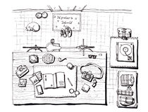 Hipster world, home illustration hand drawn elements Royalty Free Stock Photos