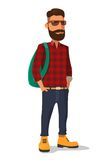 Hipster  in the yellow shoes and a red plaid shirt. Vector flat illustration on white background.  Royalty Free Stock Images