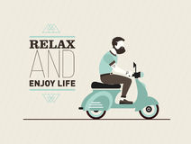 Hipster young bearded man character with retro blue scooter. Urban modern lifestyle abstract vector post card Royalty Free Stock Photos