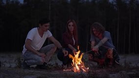 Three young friends chilling on beach making marshmallows with a fire and chatting in cozy summer evening. Hipster young friends chilling on beach making stock video footage
