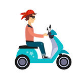 Hipster Young Man Characters Riding Fast Retro Stock Photography