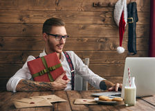 Hipster young Santa Claus Royalty Free Stock Images