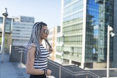Young woman with braided hair. Royalty Free Stock Photos
