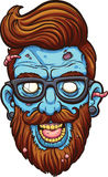 Hipster zombie. Hipster cartoon zombie head. Vector clip art illustration with simple gradients. All in a single layer stock illustration