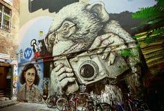 Hipsteraap met mobiele telefoon en camera, onbekende kunstenaarsgraffiti Stock Foto's