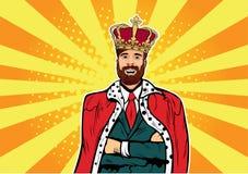 Hipsteraffärskonung Affärsman med illustrationen för skägg- och kronapopkonst plattform tablets för begreppsledareserie royaltyfri illustrationer