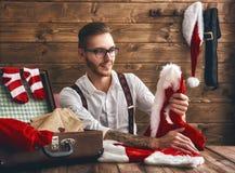 Hipsterbarn Santa Claus Arkivfoton