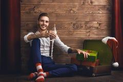 Hipsterbarn Santa Claus Fotografering för Bildbyråer