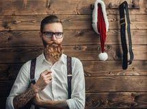 Hipsterbarn Santa Claus Arkivbilder