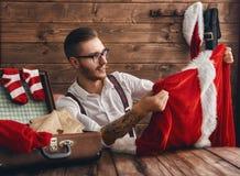 Hipsterbarn Santa Claus Royaltyfria Foton