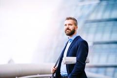 Hipsterchef i den blåa skjortan, London stadshus Royaltyfria Foton