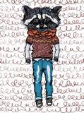 Hipsterdjur, tvättbjörn i jeans Royaltyfri Illustrationer