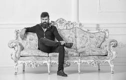 Hipsteren på strikt framsida sitter bara Rikt och ensamt begrepp Ägaren av den lyxiga lägenheten sitter på soffan, den vita vägge royaltyfria bilder
