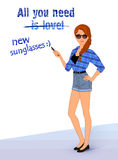 Hipsterflicka som bär trendig kläder Vektor Illustrationer