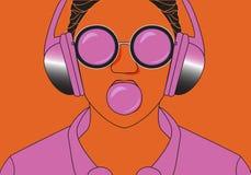 Hipsterflicka som lyssnar till musik på hörlurar- och tuggningboll av idisslad föda vektor illustrationer