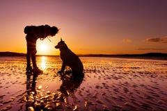 Hipsterflicka som spelar med hunden på en strand under solnedgång royaltyfria foton