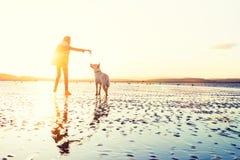 Hipsterflicka som spelar med hunden på en strand under solnedgången, stark linssignalljus royaltyfri foto