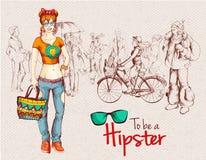 Hipsterflickafolkmassa stock illustrationer