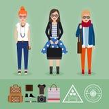 Hipsterflickor med tillbehör Royaltyfria Foton