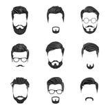 Hipsterhår, mustascher och skägg Arkivbilder