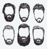 Hipsterhår och skägg, uppsättning för modevektorillustration