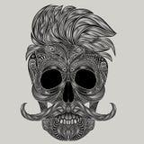 Hipsterhaar en een snor Vector Menselijke schedel Royalty-vrije Stock Afbeelding