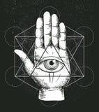 Hipsterillustratie met heilige meetkunde, hand, en allen die oogsymbool binnen driehoekspiramide zien Vrijmetselaars- symbool Royalty-vrije Stock Foto's