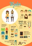 Hipsterinfographics med modedesignbeståndsdelar Royaltyfri Fotografi