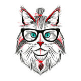 Hipsterkatt vektor illustrationer