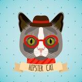 Hipsterkattstående vektor illustrationer