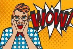 Hipsterkerel in pop-artstijl, wauw, eps 10 Stock Foto