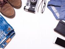 Hipsterkleren en toebehoren Kijk, menswear collage Stock Afbeeldingen