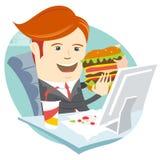 Hipsterkontorsman som äter smörgåsen på hans arbetsplats Plan stil Arkivfoto