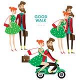 Hipsterkvinna och man på sparkcykeln Royaltyfria Bilder