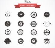 Hipsterlables, emblem och beståndsdelar royaltyfri illustrationer
