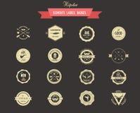 Hipsterlables, emblem och beståndsdelar vektor illustrationer
