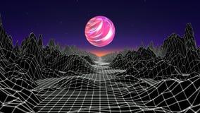 Hipsterlek från diagram för rörelse för 80-talcyber futuristiska Animering för våg för landskap för Digital oldschool modig med m stock illustrationer