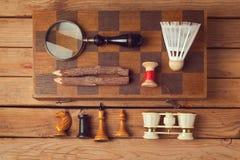Hipsterlevensstijl Uitstekende en moderne objecten inzameling Mening vanaf bovenkant Royalty-vrije Stock Fotografie