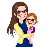 Hipstermamma en Baby vector illustratie