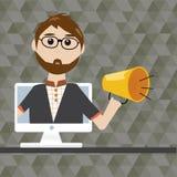 Hipsterman med megafonen i digitalt marknadsföringsbegrepp Arkivbild