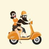 Hipsterman och kvinna med den gula sparkcykeln Arkivfoto