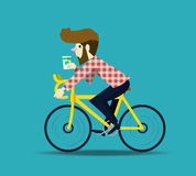 Hipsterman som cyklar hans fixiecykel Arkivbild