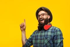 Hipsterman som har idé Arkivbilder