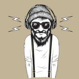 Hipstermens die aan muziek vectorillustratie luisteren Stock Foto